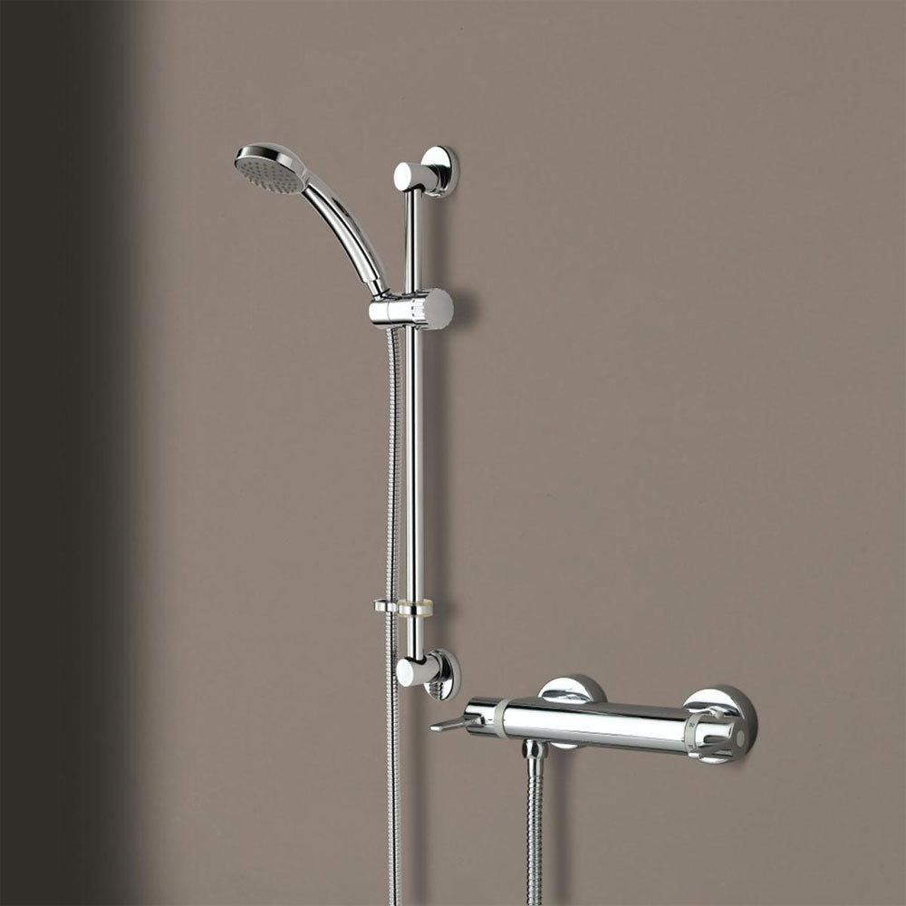 Bristan Design Utility Lever Bar Mixer with Adjustable Riser Kit & Fast Fit Wall Fixings Large Image