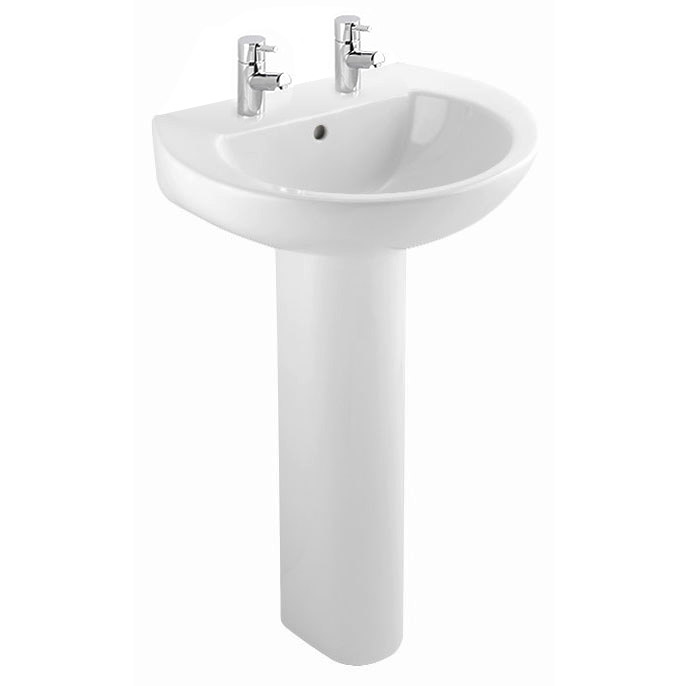 Bristan - Dune 55cm 2 Tap Hole Basin and Pedestal profile large image view 1