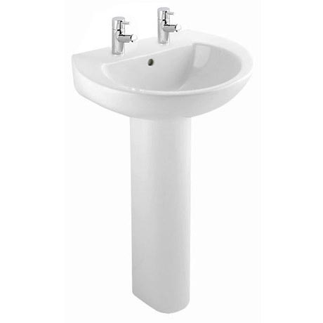 Bristan - Dune 55cm 2 Tap Hole Basin and Pedestal