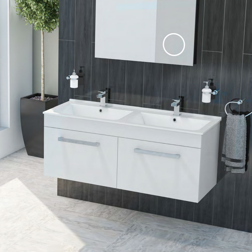 duo double basin wall hung vanity unit white gloss 1250mm wide close - Modern Bathroom Ideas