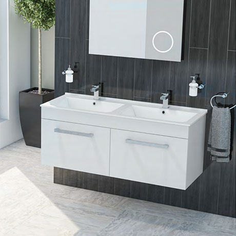 Duo Double Basin Wall Hung Vanity Unit (White Gloss - 1250mm Wide)
