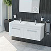 Duo Double Basin Wall Hung Vanity Unit (White Gloss - 1250mm Wide) profile small image view 1