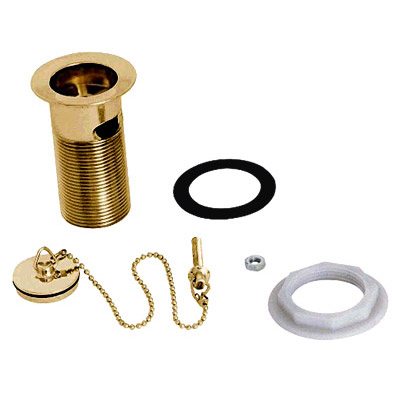"Deva 1 1/4"" Slotted Basin Waste with Brass Plug/Chain & Stay - Gold - DW300/501 profile large image view 1"