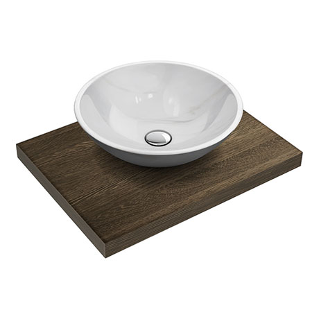 600 x 450mm Dark Wood Shelf with Round White Marble Basin