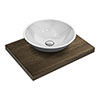 600 x 450mm Dark Wood Shelf with Round White Marble Basin profile small image view 1