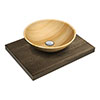 600 x 450mm Dark Wood Shelf with Round Sandstone Basin profile small image view 1