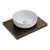 600 x 450mm Dark Wood Shelf with Sol Round Basin profile small image view 1