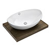 600 x 450mm Dark Wood Shelf with Costa Basin profile small image view 1