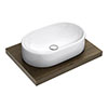 600 x 450mm Dark Wood Shelf with Nouvelle Semi-Oval Basin profile small image view 1