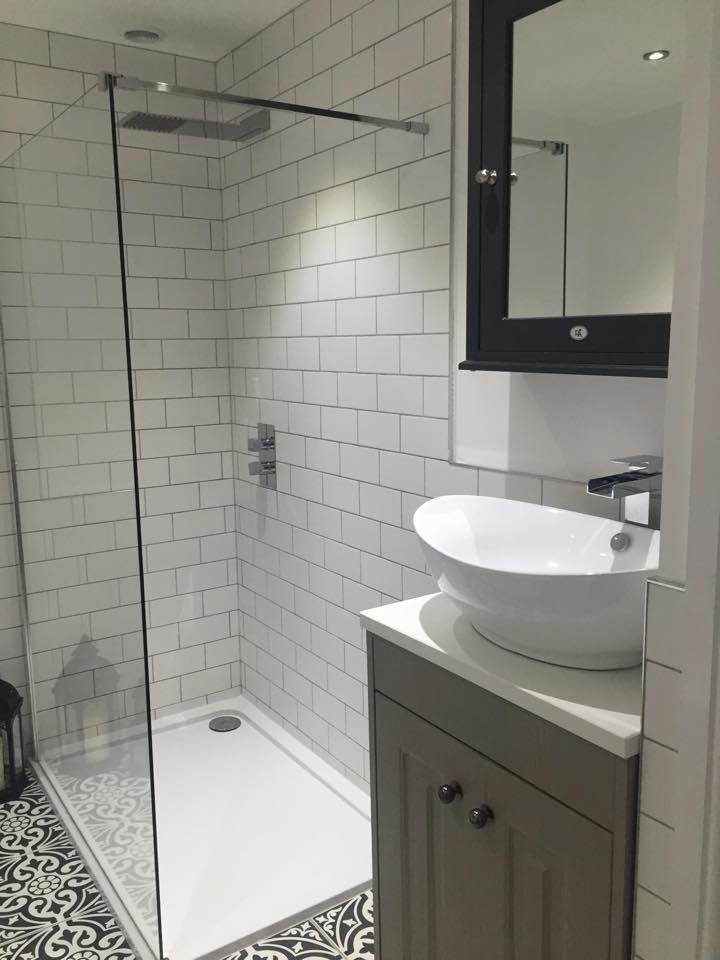 Danielle's walk-in shower enclosure and traditional vanity unit with counter top basin | Danielle's En Suite Bathroom - Formby, Merseyside