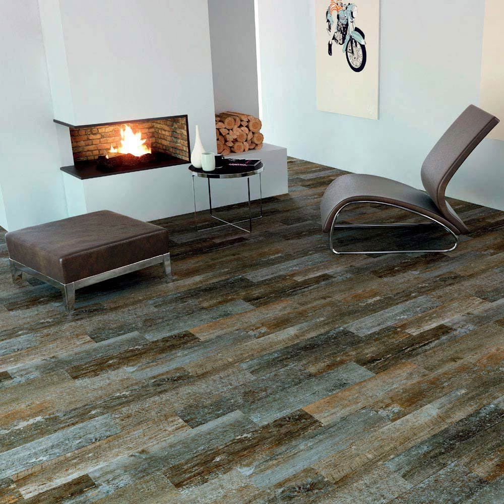 Darwin Dark Wood Effect Porcelain Floor Tile - 220 x 850mm Large Image