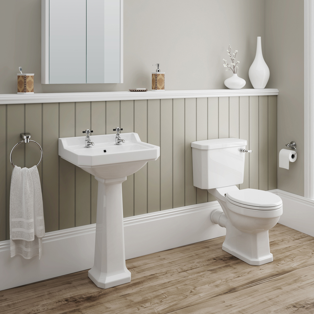Darwin Traditional Close Coupled Toilet with Soft Close Seat profile large image view 3