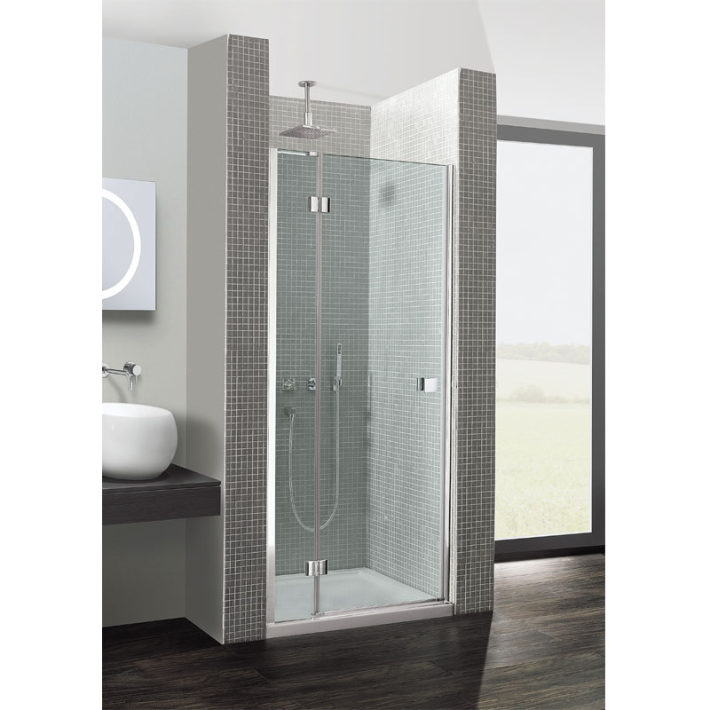 Simpsons - Design Hinged Shower Door with Inline Panel - Various Size Options Large Image