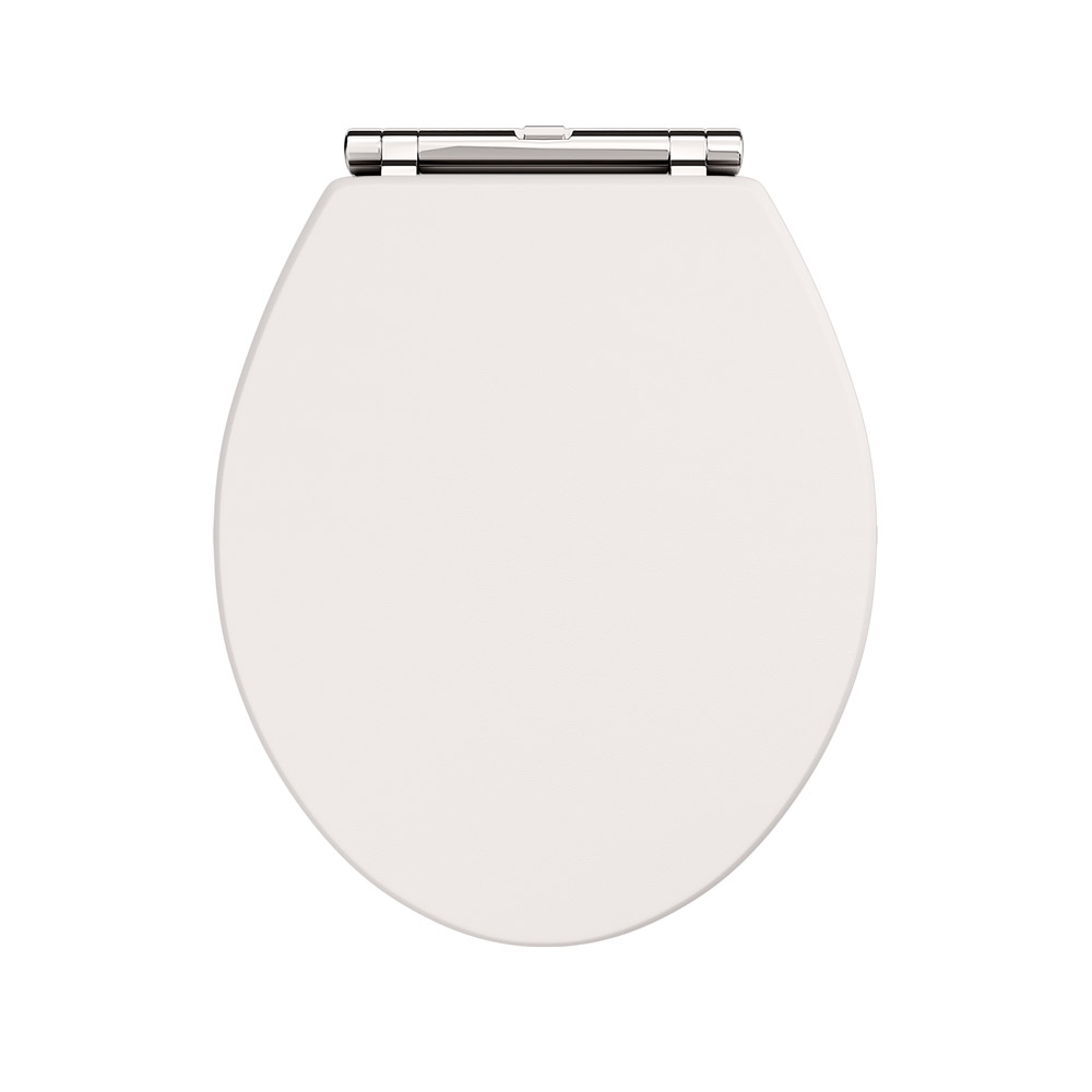 Devon Carlton Plain Ivory Quick Release Toilet Seat with Chrome Hinges profile large image view 2