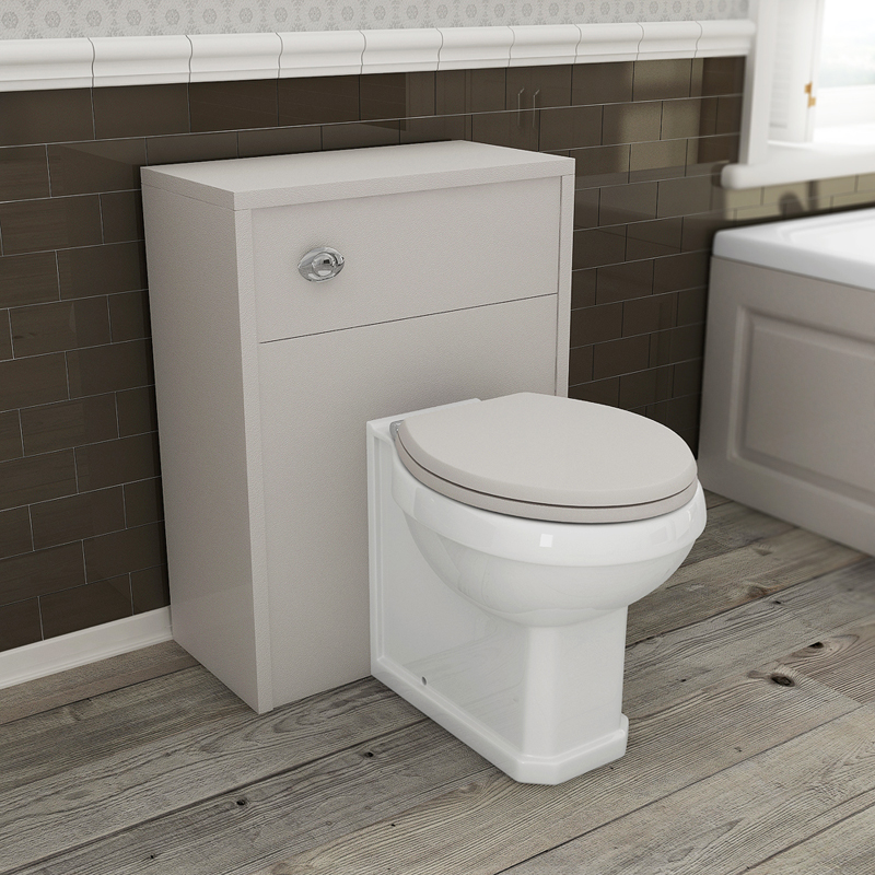 Devon Cashmere 600mm Traditional Back To Wall WC Unit with Pan & Seat Feature Large Image