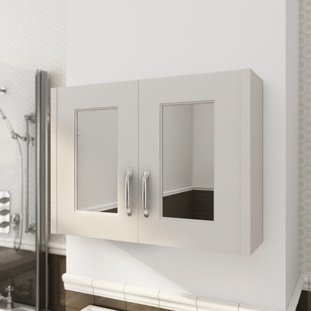 Devon Cashmere 800mm Traditional 2 Door Mirror Cabinet profile large image view 2