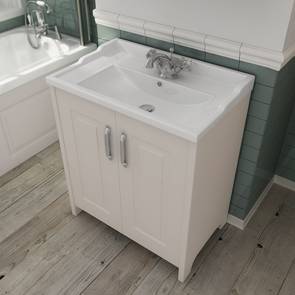 Devon Ivory Traditional 2 Door Vanity Unit (600 x 460mm) Profile Large Image