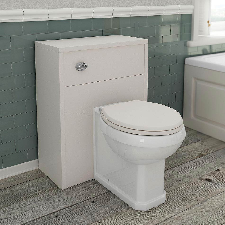 Devon Ivory 600mm Traditional Back To Wall WC Unit with Pan + Seat profile large image view 1