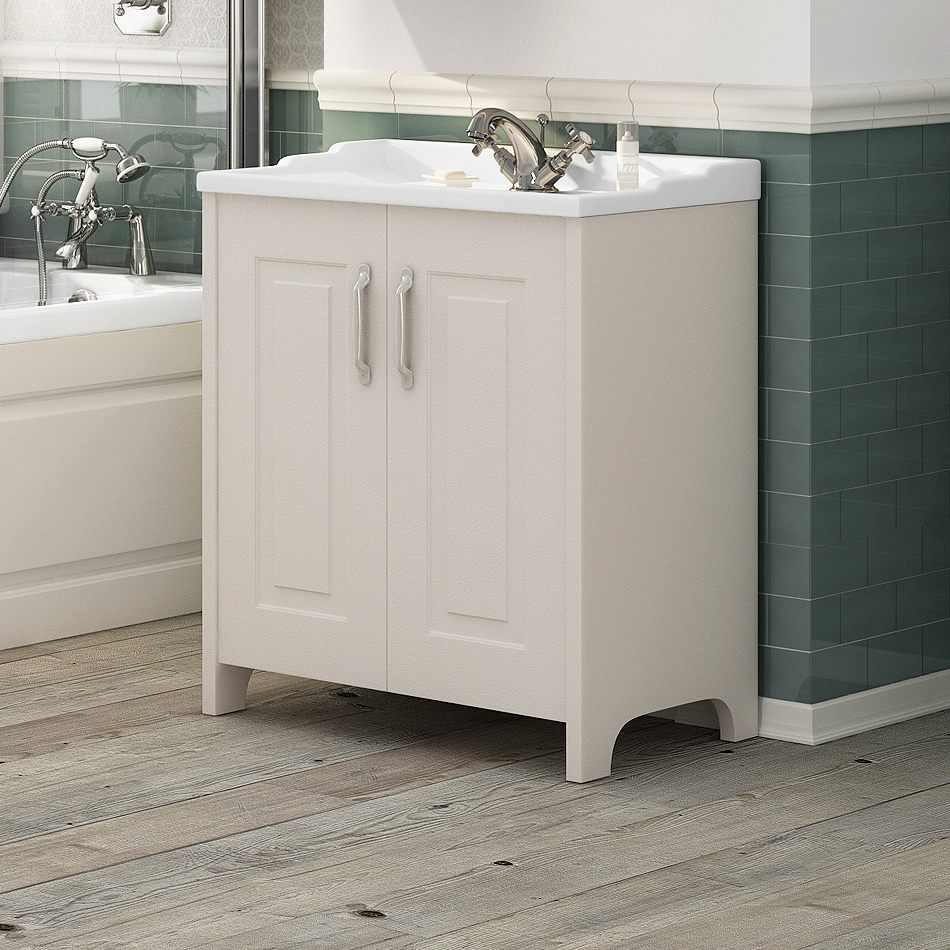 Devon Ivory Traditional 2 Door Vanity Unit (800 x 460mm) Feature Large Image