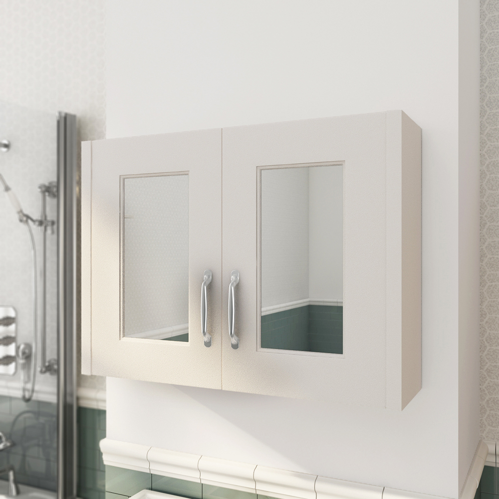 Devon Ivory 800mm Traditional 2 Door Mirror Cabinet profile large image view 2
