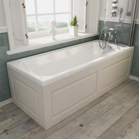 Devon ivory single ended traditional bath with panels for Chatsworth bathroom faucet parts