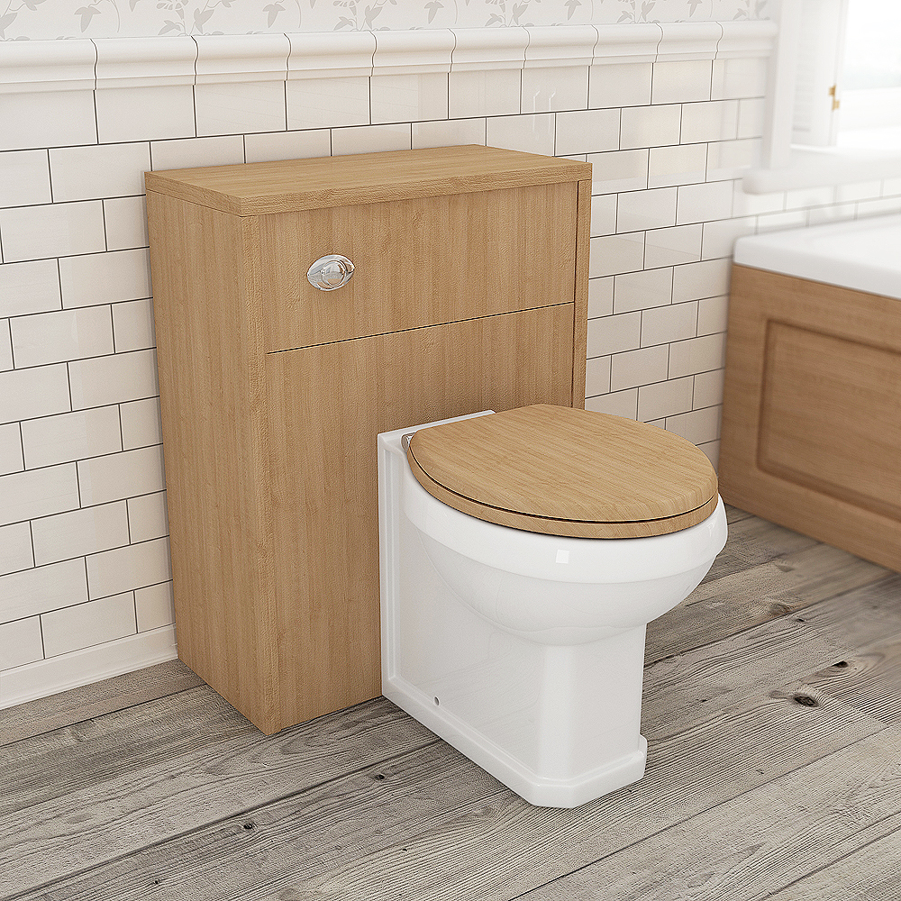 Devon Oak 600mm Traditional Back To Wall WC Unit profile large image view 2