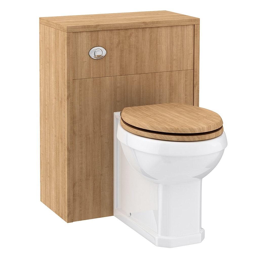 Devon Oak 600mm Traditional Back To Wall WC Unit Large Image