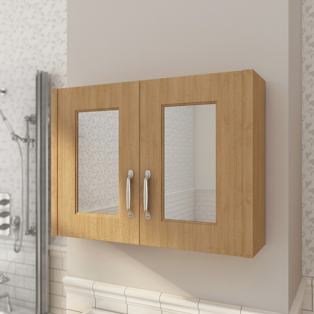 Devon Oak 800mm Traditional 2 Door Mirror Cabinet profile large image view 2