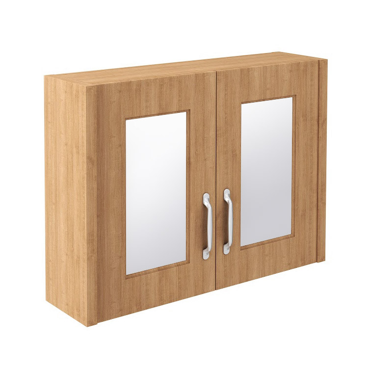 Devon Oak 800mm Traditional 2 Door Mirror Cabinet profile large image view 1