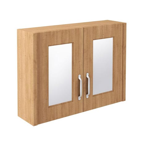 Devon Oak 800mm Traditional 2 Door Mirror Cabinet