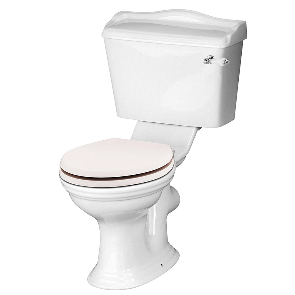 Devon Ryther Close Coupled Toilet with Ivory Soft Close Seat profile large image view 1