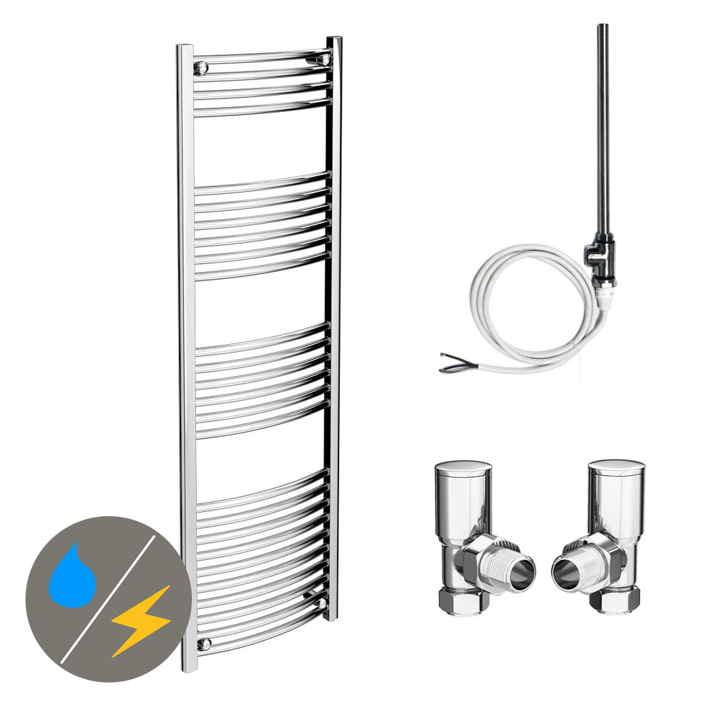 Diamond 500 x 1600mm Curved Heated Towel Rail (Inc. Valves + Electric Heating Kit)
