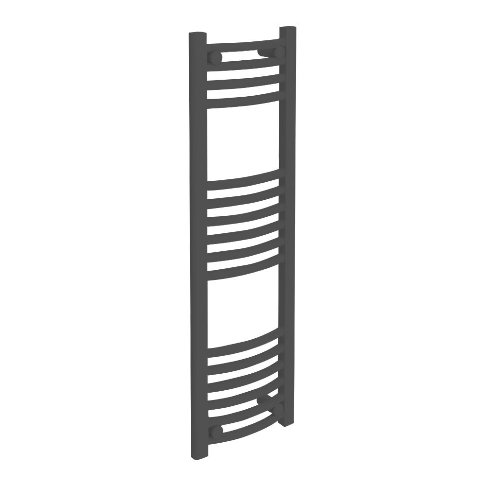 Diamond Curved Heated Towel Rail - W300 x H1000mm - Anthracite Large Image