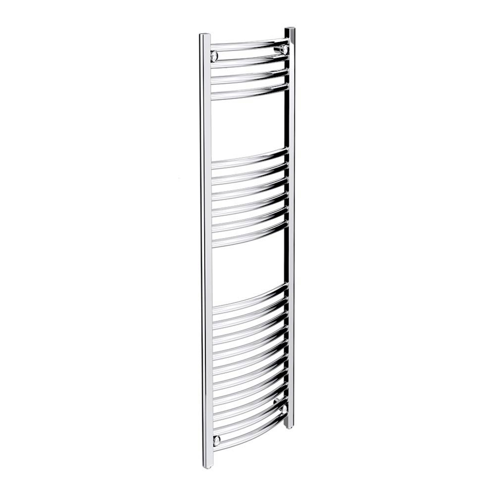 Diamond Curved Heated Towel Rail - W300 x H1200mm - Chrome Large Image