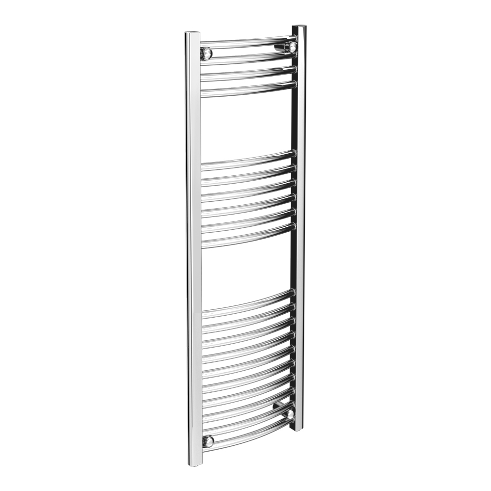Diamond Curved Heated Towel Rail - W400 x H1200mm - Chrome profile large image view 1