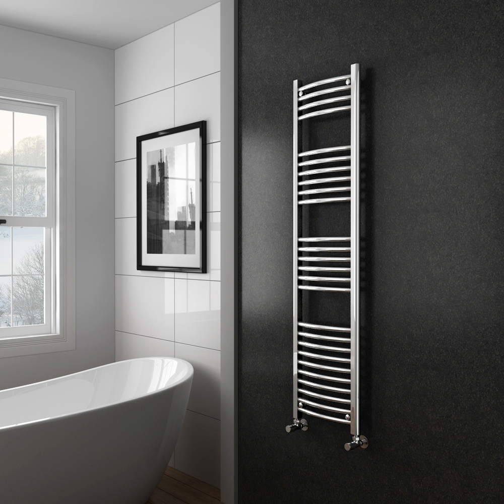 Diamond Curved Heated Towel Rail - W400 x H1600mm - Chrome profile large image view 2