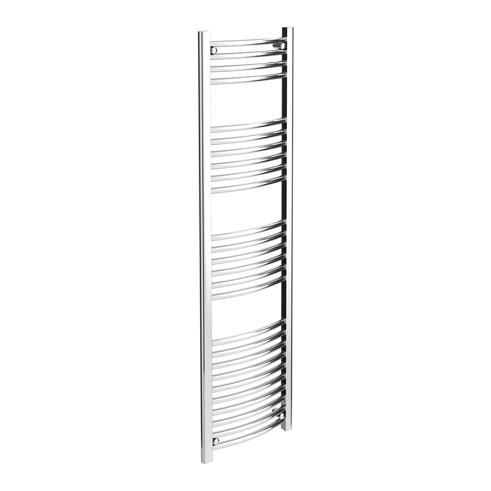 Diamond Curved Heated Towel Rail - W400 x H1600mm - Chrome Large Image