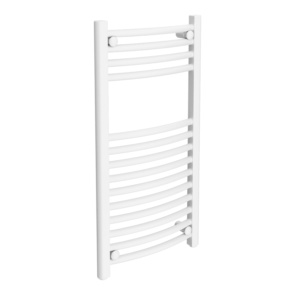 Diamond Curved Heated Towel Rail - W400 x H800mm - White Large Image