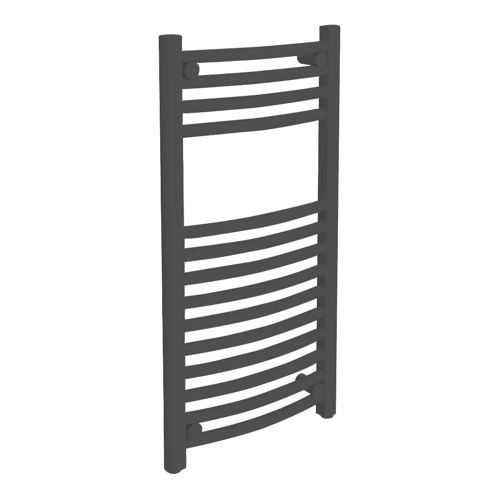 Diamond Curved Heated Towel Rail - W400 x H800mm - Anthracite Large Image