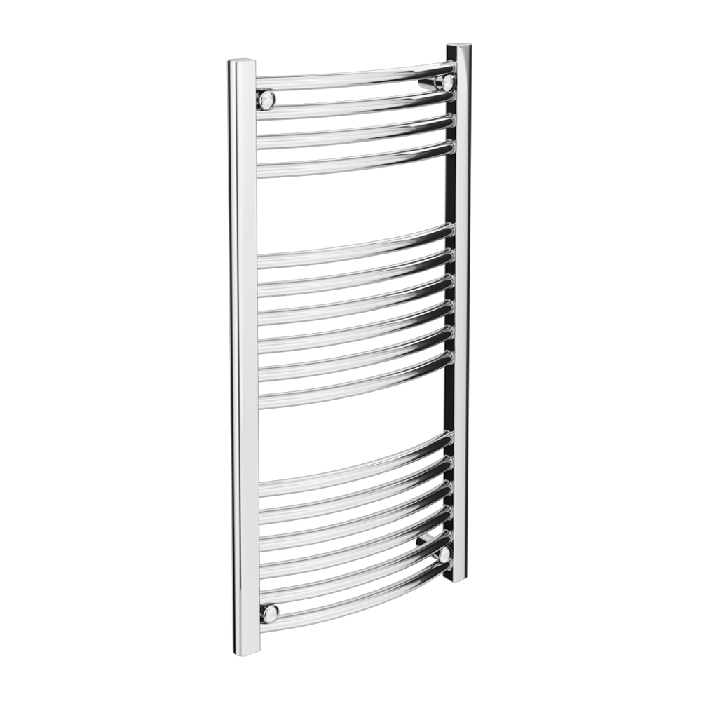 Diamond Curved Heated Towel Rail - W500 x H1000mm - Chrome profile large image view 1
