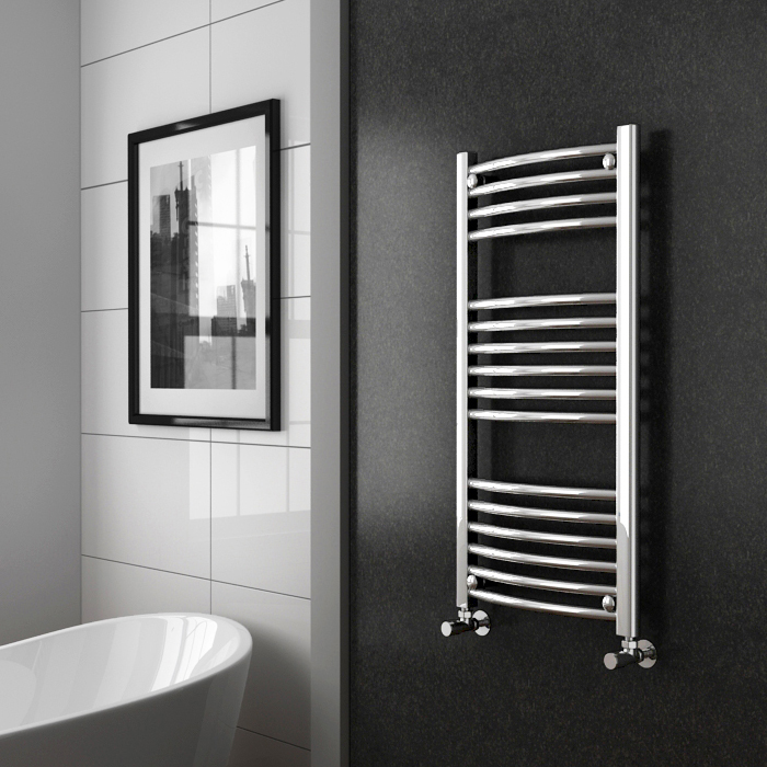 Diamond Curved Heated Towel Rail - W500 x H1000mm - Chrome profile large image view 2