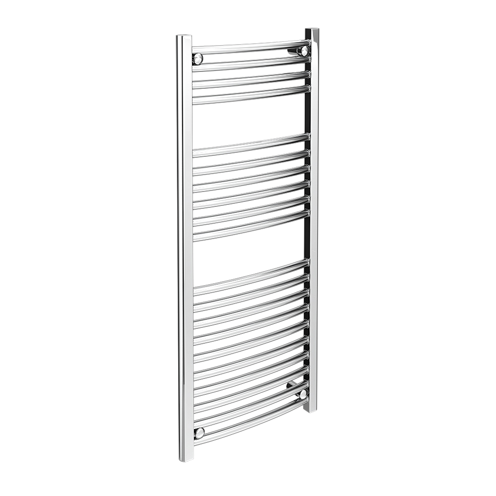 Diamond Curved Heated Towel Rail - W500 x H1200mm - Chrome profile large image view 1
