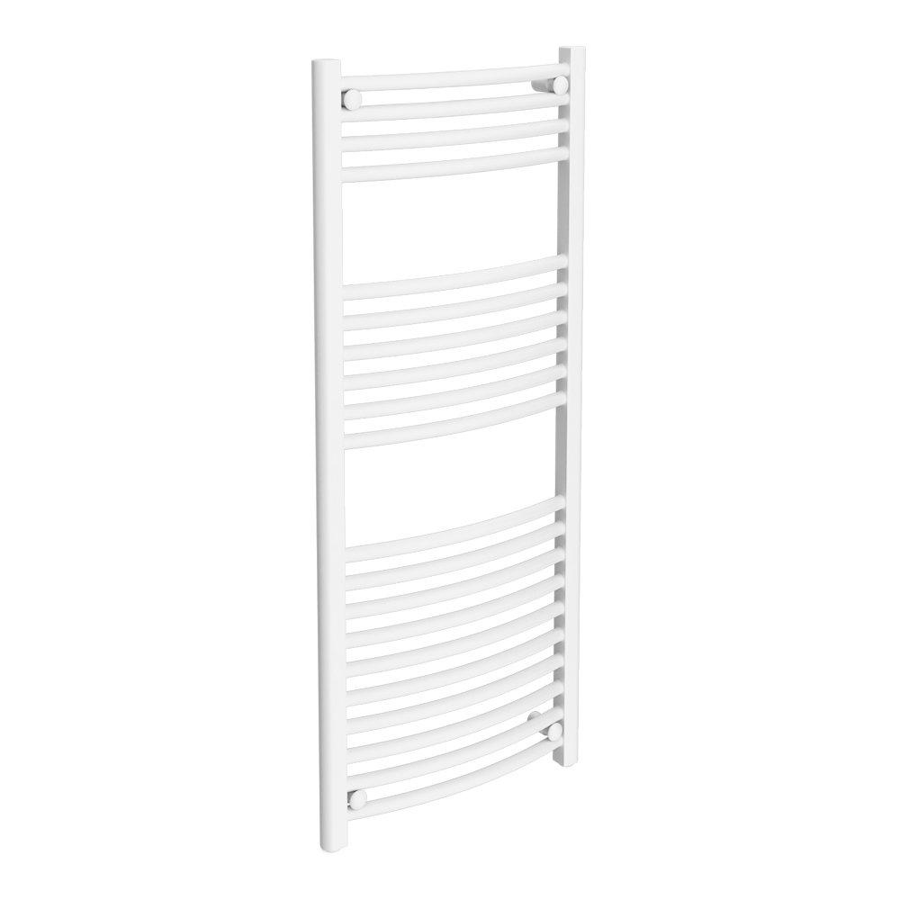 Diamond Curved Heated Towel Rail - W500 x H1200mm - White Large Image