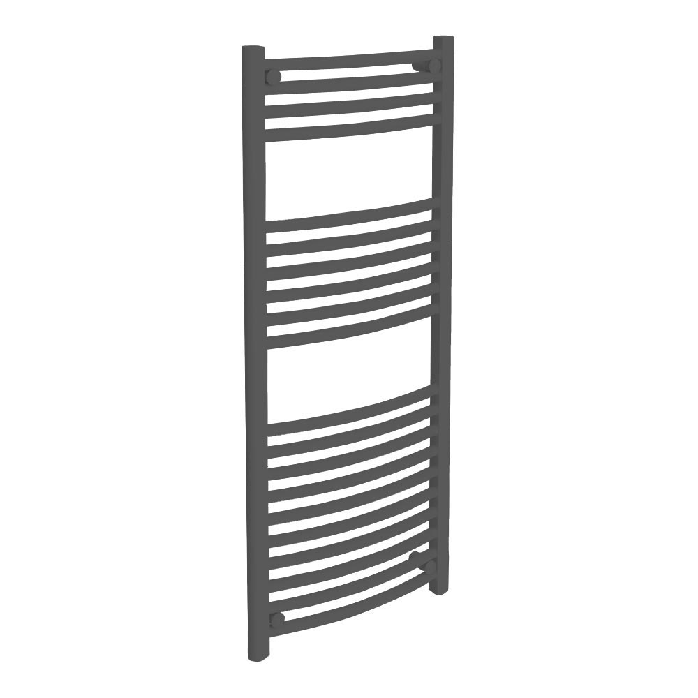 Diamond Curved Heated Towel Rail - W500 x H1200mm - Anthracite Large Image