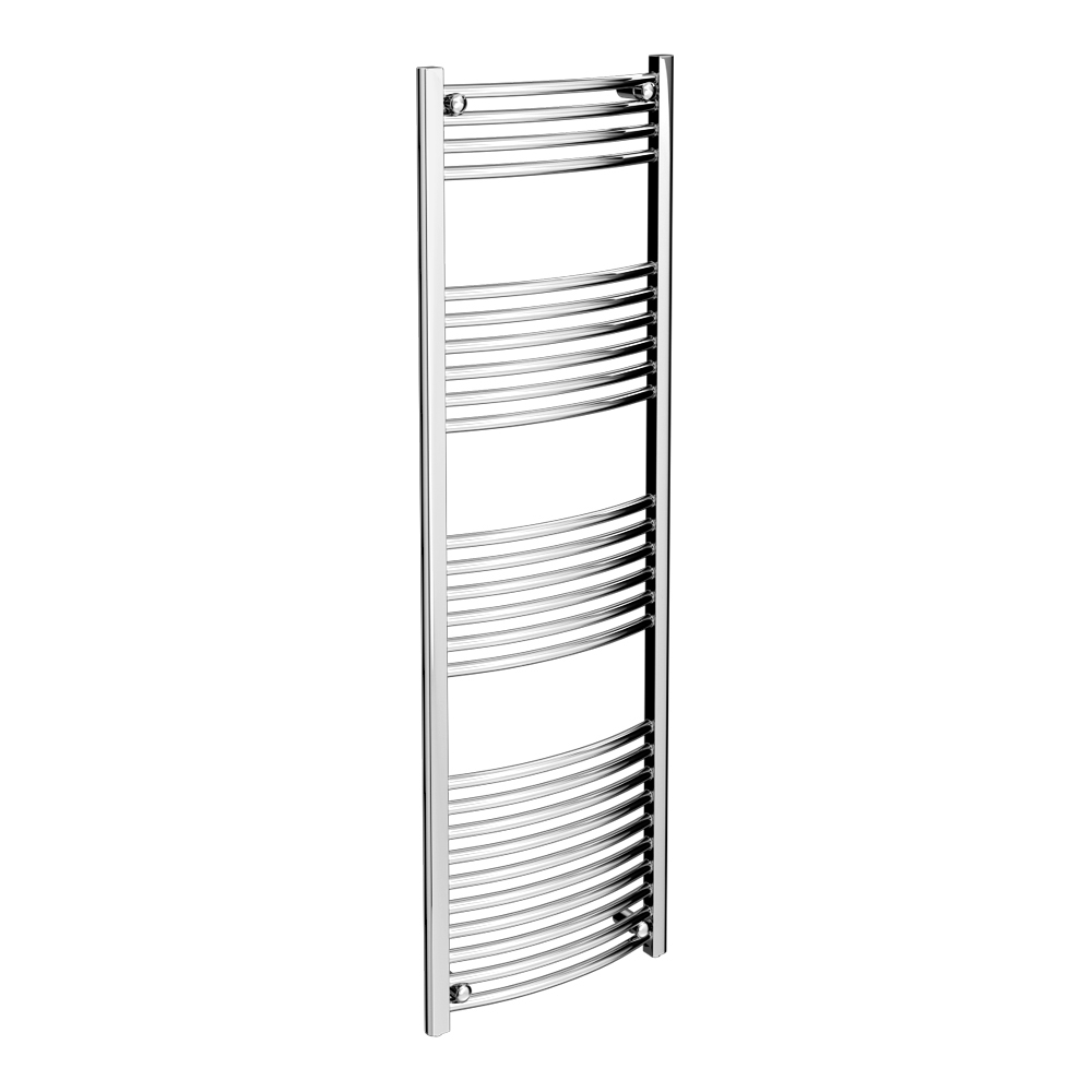 Diamond Curved Heated Towel Rail - W500 x H1600mm - Chrome Large Image