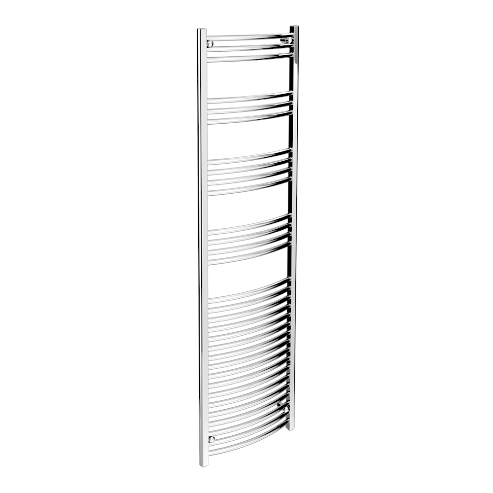 Diamond Curved Heated Towel Rail - W500 x H1800mm - Chrome Large Image