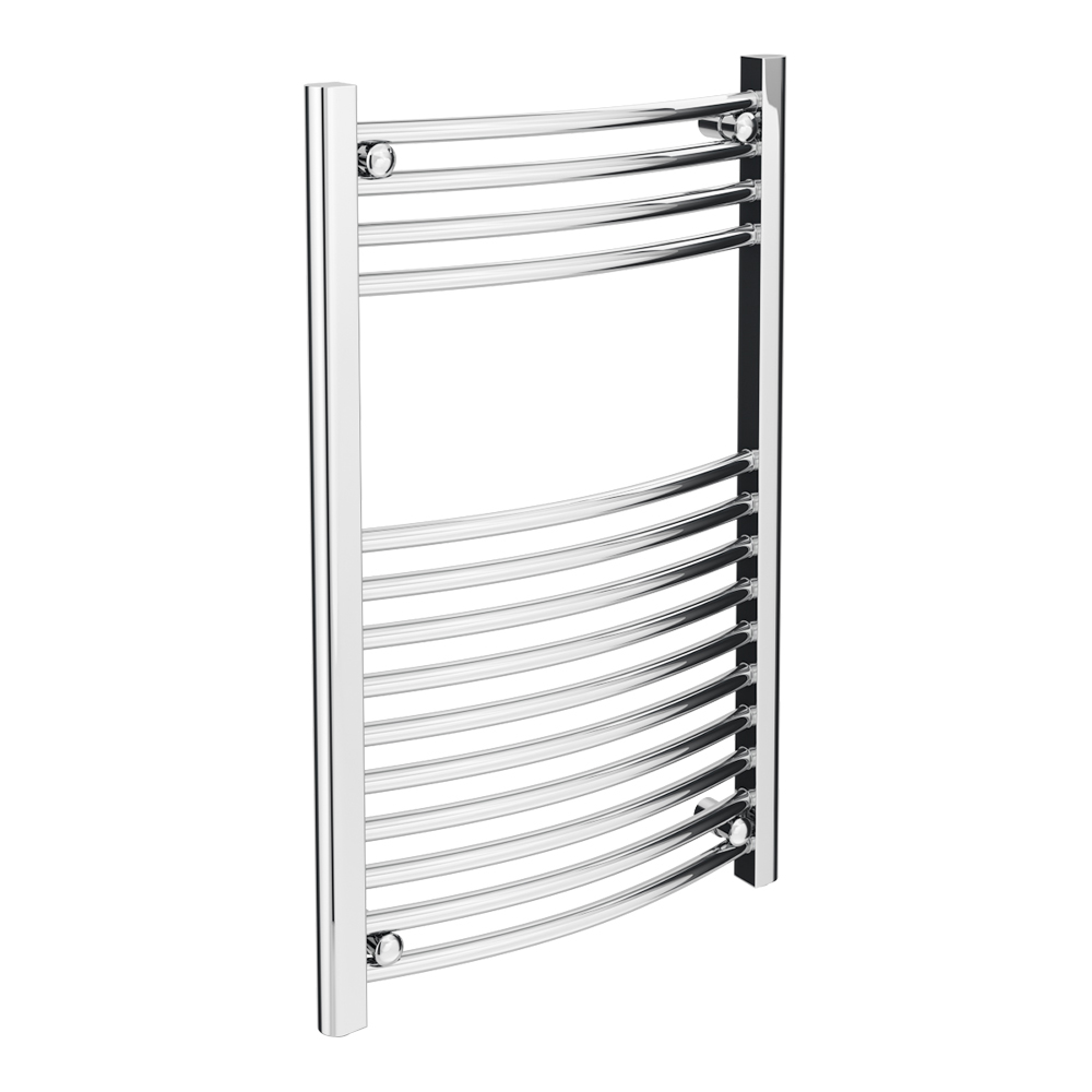 Diamond Curved Heated Towel Rail - W500 x H800mm - Chrome profile large image view 1