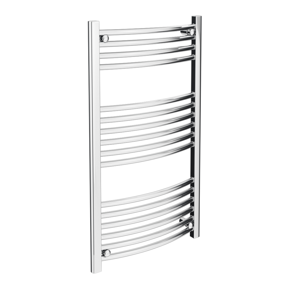 Diamond Curved Heated Towel Rail - W600 x H1000mm - Chrome profile large image view 1
