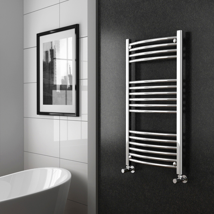Diamond Curved Heated Towel Rail - W600 x H1000mm - Chrome profile large image view 2