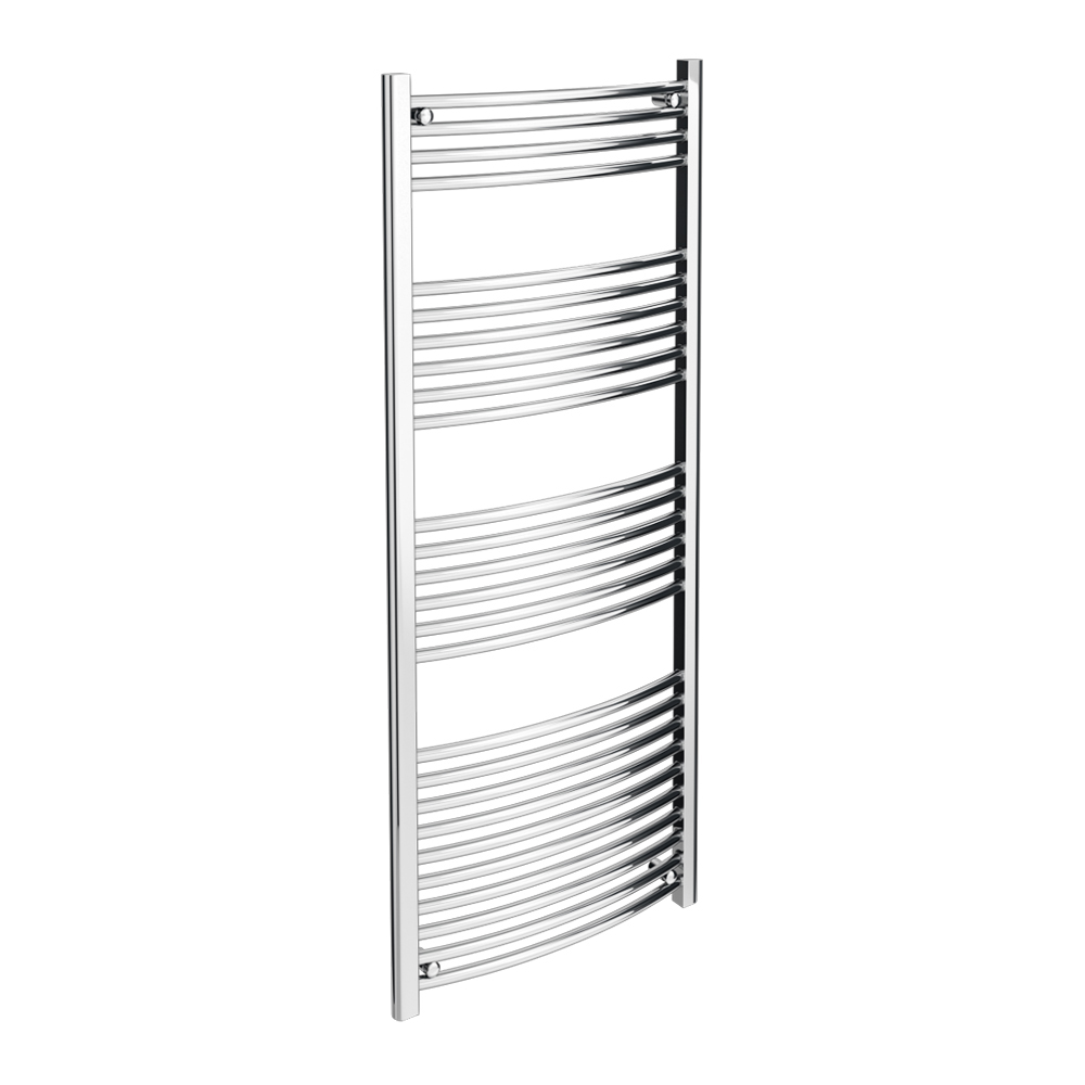 Diamond Curved Heated Towel Rail - W600 x H1600mm - Chrome profile large image view 1